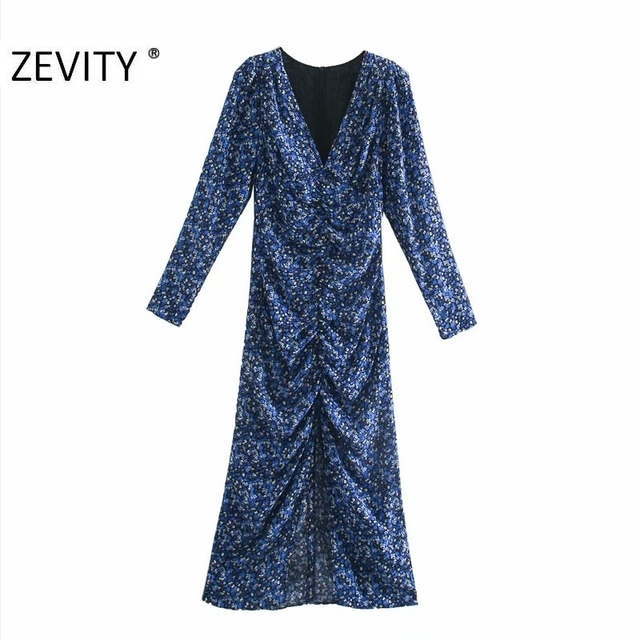 ZEVITY New Women Vintage V Neck Flower Print Pleated Shirtdress Ladies Long Sleeve Back Zipper Vestido Chic Split Dresses DS4516 1