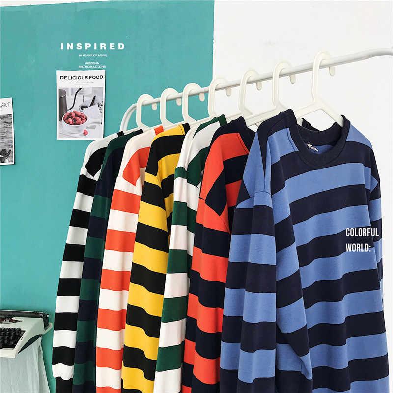 힙합 T 셔츠 남성 긴 소매 스트라이프 t 셔츠 캐주얼 남성 티 셔츠 2019 Streetwear 남자 패치 워크 코 튼 T-셔츠