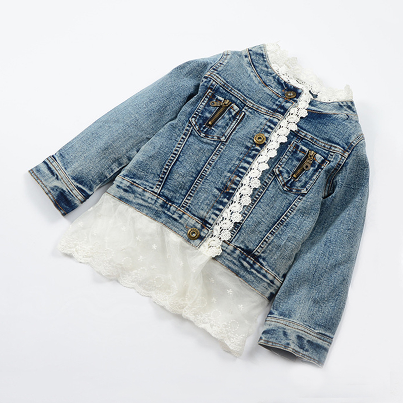 Boutique Denim Jacket for Girls Kids Outfits Fashion Girls Lace Denim Jacket with Lace Children Clothing Outerwear & Coat