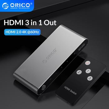 цена на ORICO 3 Port HDMI Splitter Switch 2.0 4K 60 Hz 1080P HDMI Switcher Adapter With Infrared Remote Control for DVD HDTV Xbox PS3 4
