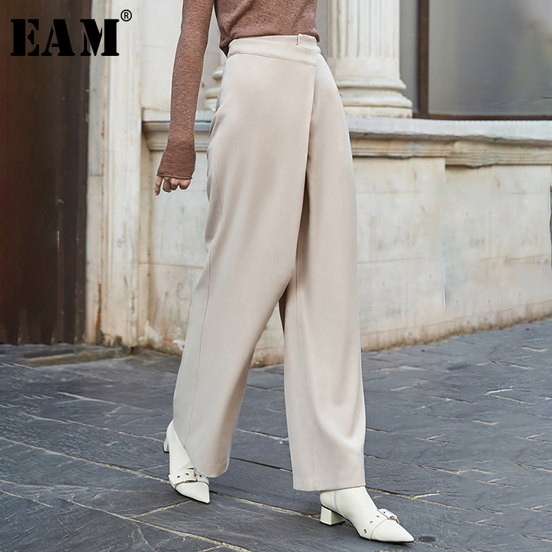 [EAM] High Waist Button Apricot Split Long Wide Leg Trousers New Loose Fit Pants Women Fashion Tide Spring Autumn 2020 1N366