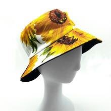 Панама женская Двусторонняя хлопковая с принтом подсолнуха шляпа