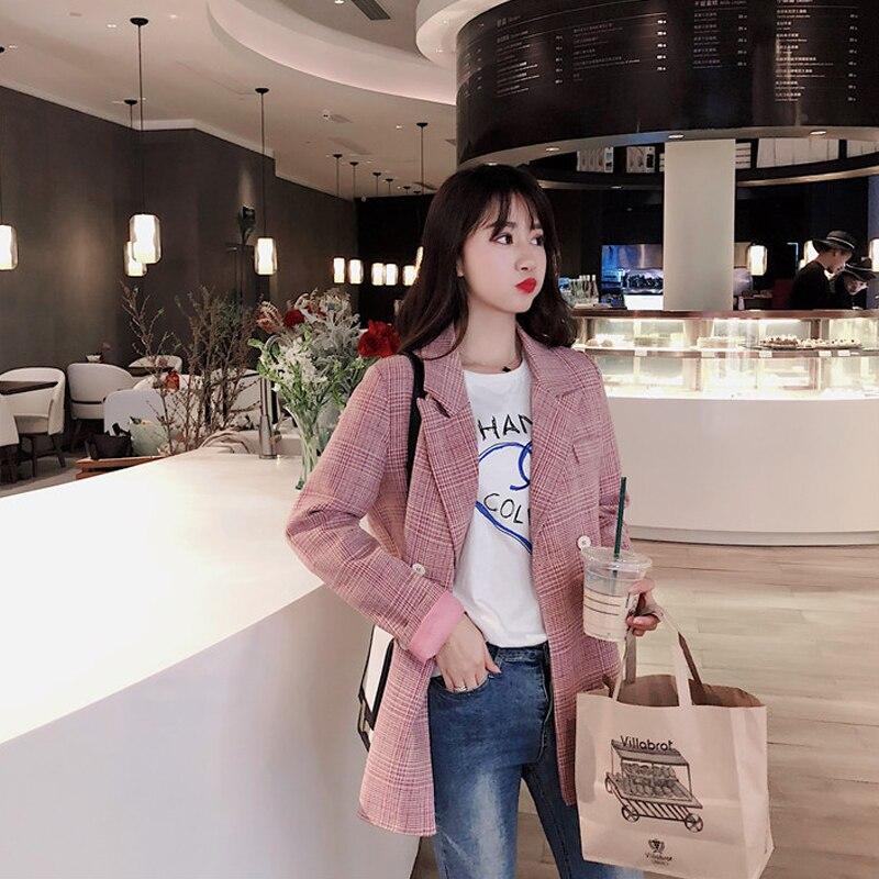 Plaid Pink Vintage Ladies Blazer Loose Casual Simple Suit Jacket Long Sleeve  Bleiser Mujer Korean Women Jacket Spring MM60NXZ
