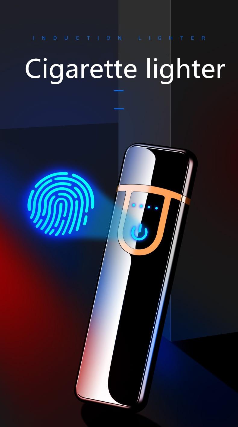 Персонализированная USB перезаряжаемая пластиковая зажигалка ветрозащитный сенсорный индукционный нагревательный провод прикуриватель