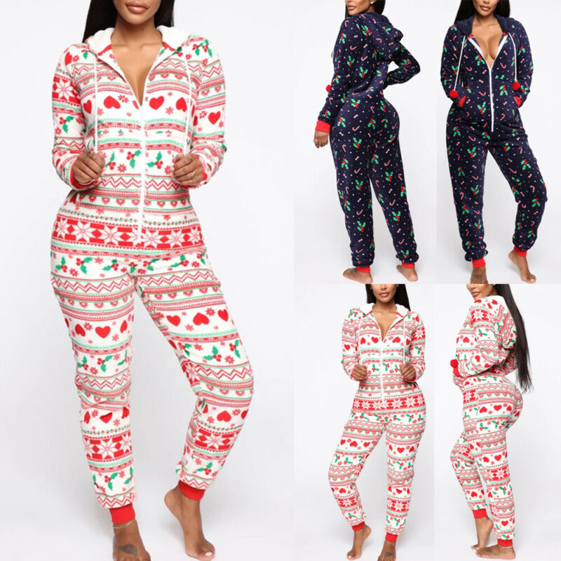 New Women Ladies Christmas Print Hooded Pyjamas Xmas Nightwear Jumpsuit Pajamas Sleepwear Warm Winter