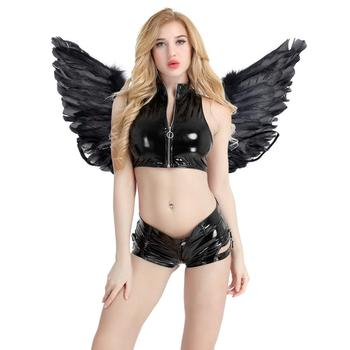 Women Girls Black Angel Fairy Real Feather Wings Dance Party Cosplay Costume Stage Show Masquerade Carnival Holiday Fancy Dress