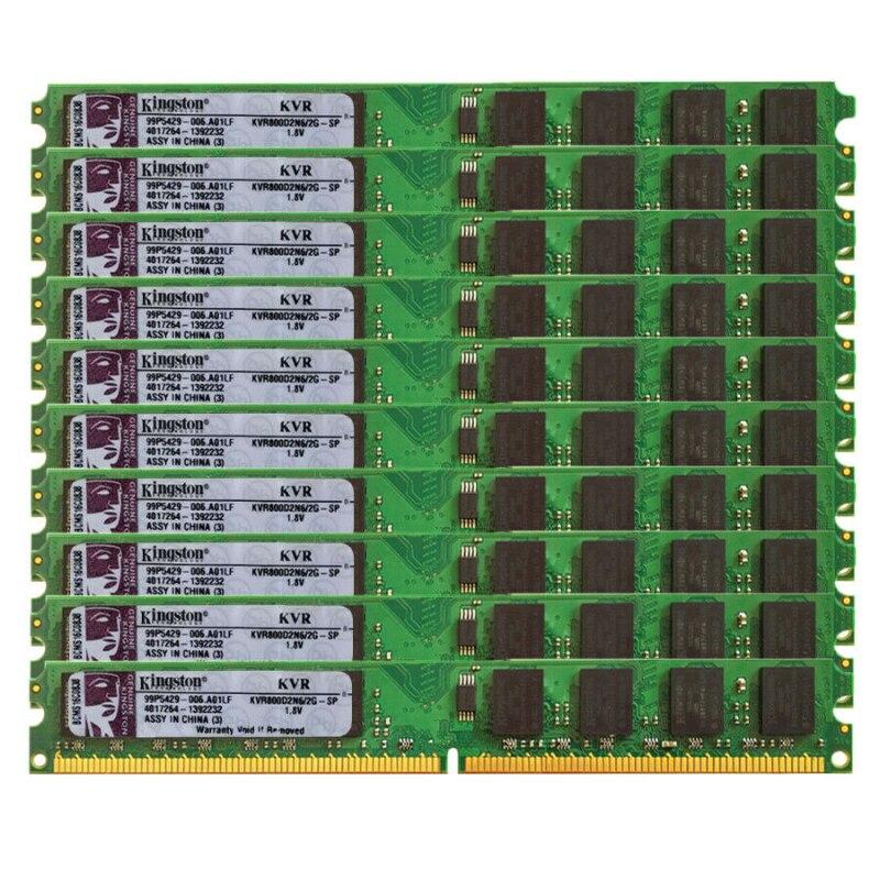 10 шт. набор DDR2 2 ГБ 800 МГц PC2-6400 DIMM настольных ПК Оперативная память 240 булавки 1,8 в не ECC по оптовой цене