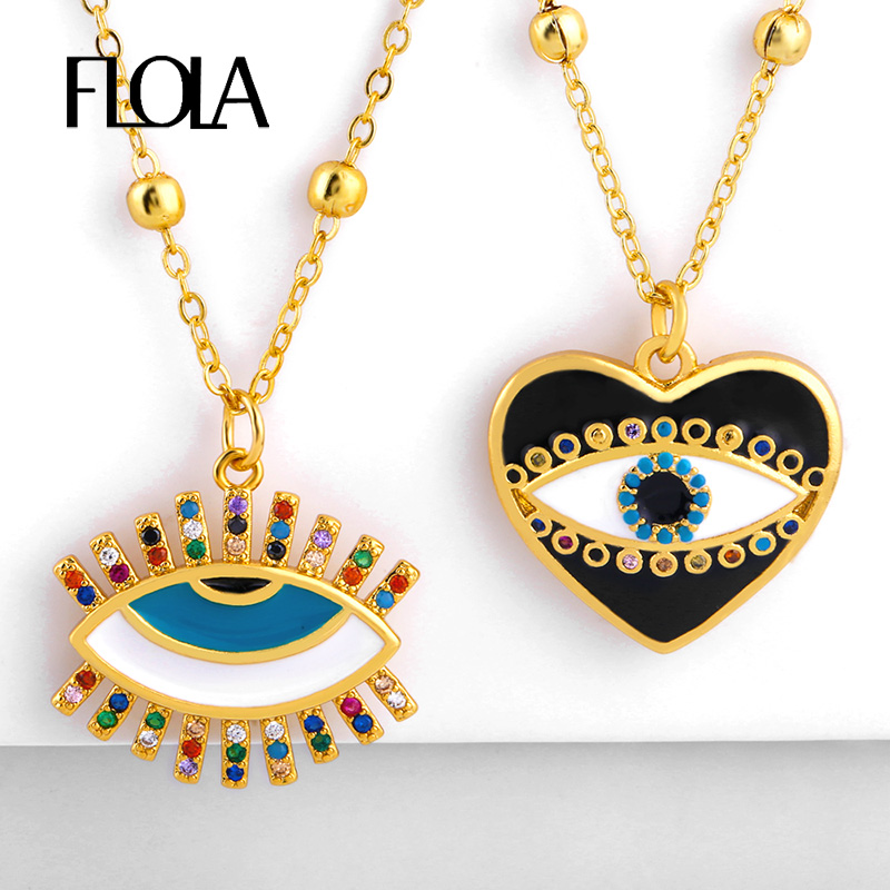 FLOLA turco ojo colgante collar para chica esmalte lindo corazón collar llamativo clásico arcoíris joyería collar ojo turco nkep75