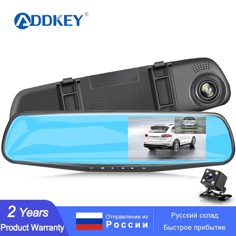 Автомобильный регистратор ADDKEY, видеорегистратор с камерой Full HD 1080P и монитором 4.3'', зеркало заднего вида с двойной видео камерой, записывающ...