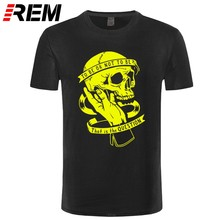 REM tee cotton summer loose skull men t shirt short sleeve men tshirt o-neck knitted mens t-shirt male tee shirts(China)