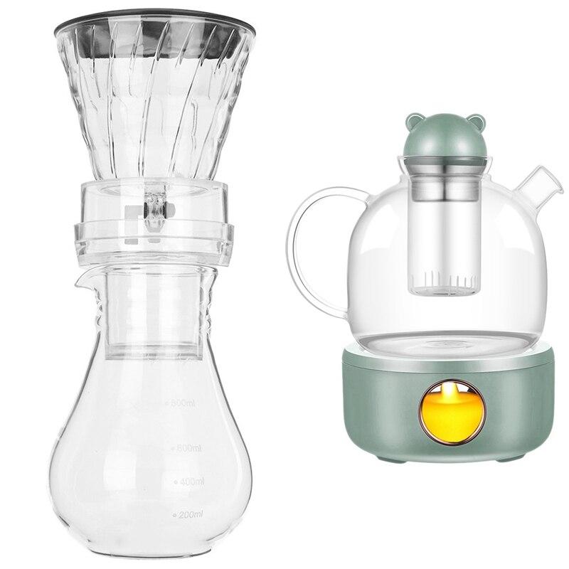 Glass Cold Ice Water Drip Coffee Maker Brew Pot Dripper 800Ml & Coffee Mug Warmer Teapot Cup Heater Constant