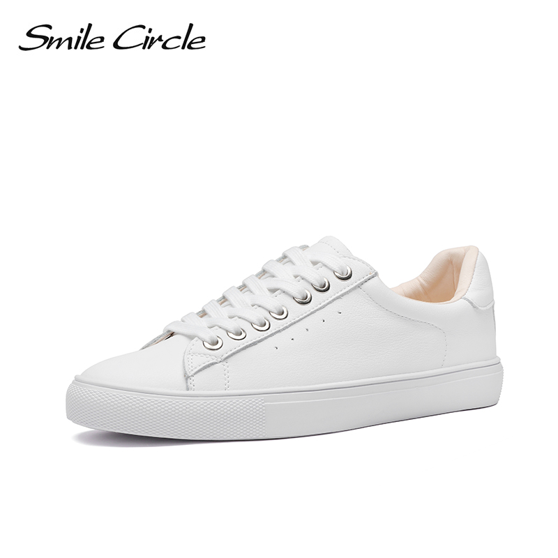 Smile Circle White Sneakers Women Genuine Leather Low-Heel Flat Platform Ladies Lace-Up Fashion White Shoes Women Size 36-42