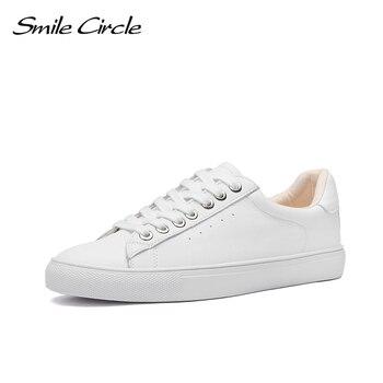 Smile Circle białe trampki damskie prawdziwej skóry niski obcas płaski obcas panie sznurowane moda białe buty damskie rozmiar 36-42