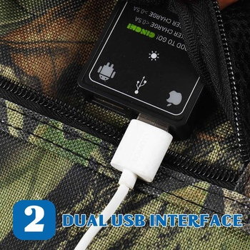 New Design LEORY 25W 5V Foldable Solar Panel Charger Solar Power Bank Dual USB Camouflage Backpack Camping Hiking 3