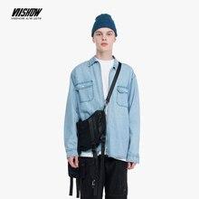 VIISHOW  Mens Denim Shirt Long Sleeve Cotton Jeans Zip cardigan Casual Shirts Men Two-pocket Light blue washed shirt CC1717193 long sleeve pocket printed denim shirt