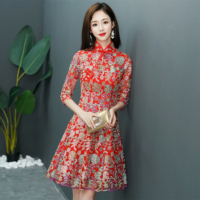 Traditional Lady Chinese Style Daily Red Vintage Bride Wedding Party Qipao Mandarin Collar Cheongsam Stage Show Clothing XS-3XL