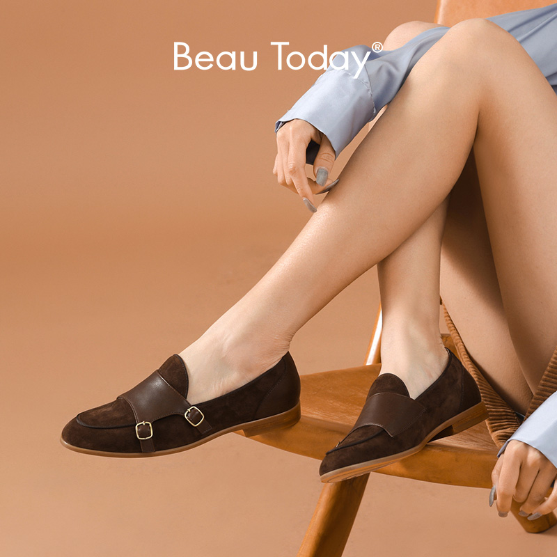 BeauToday Loafers Women Genuine Cow Leather Kid Suede Buckle Straps Round Toe Slip On Monks Ladies Flat Shoes Handmade 27224