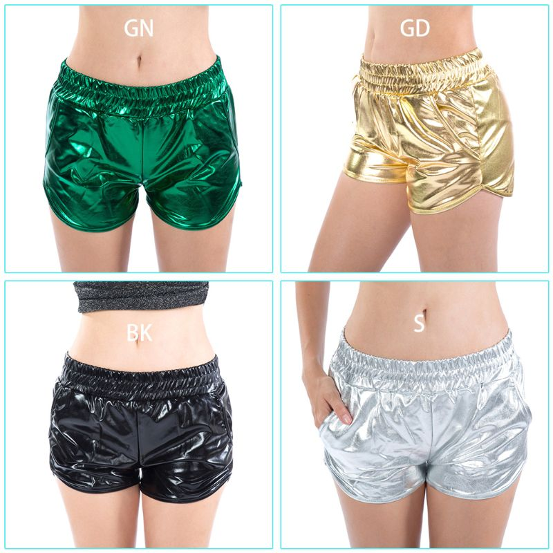 Women Metallic Glitter Solid Color Sexy Mini Shorts 2019 Lady Female Summer Beach Casual Elastic Waist Rave Shorts With Pocket