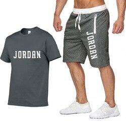 Новинка 2020, футболка + шорты, комплекты, мужские летние костюмы с буквенным принтом, Повседневная футболка, мужские спортивные костюмы, брен...