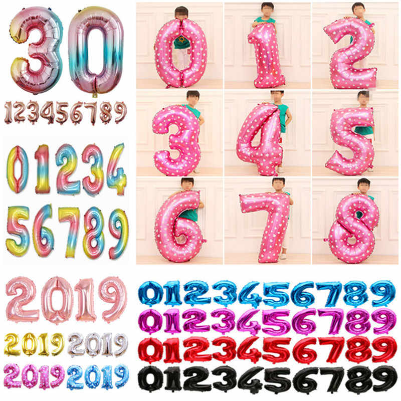 32 inch Birthday Balloons Blue Pink Number Foil Balloons 1 2 3 4 5 6 7 8 9 Years Happy Birthday Party Decorations Kid Air Ballon