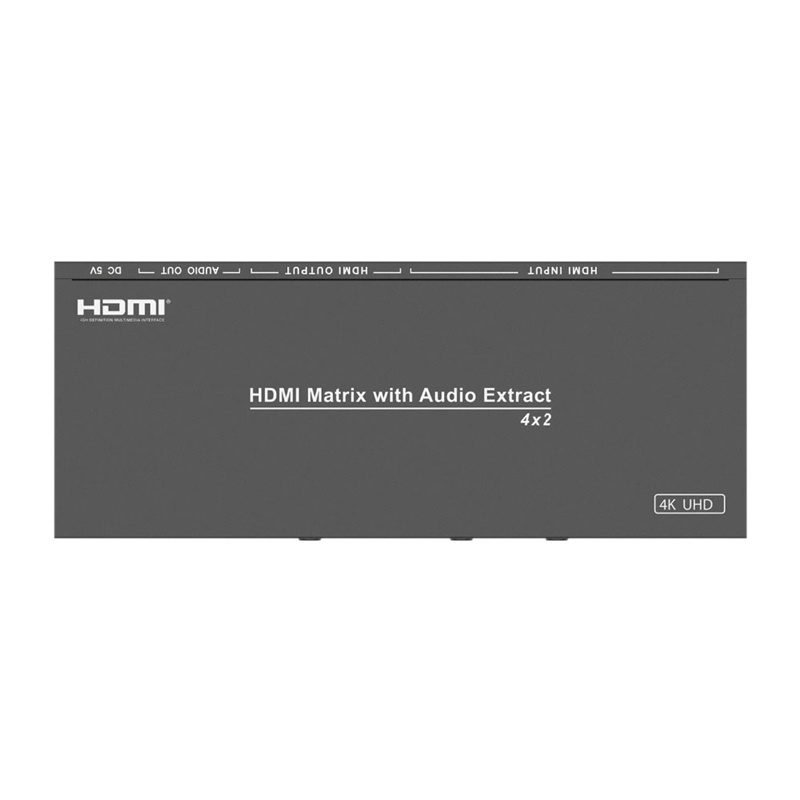 Am-A42A Video Switcher 4 In 2 Out Hdmi Matrix With Audio Separation L/R Splitter Kvm Black