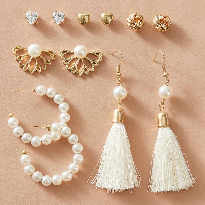 IF ME Vintage Big Round Circle Twist Pearl Earrings for Women Tassel Pendant Drop Earrings Set Acrylic Crystal Earring Jewelry