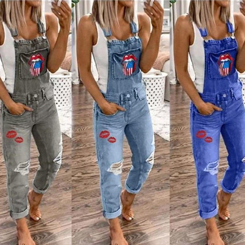 Printed Lips Women Denim Jumpsuits Casual Pockets Bib Pants Rompers Elegant Female Jeans Loose Overalls Jumpsuit Extra Large
