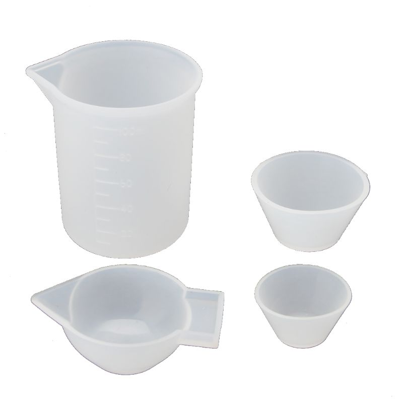 4Pcs Silicone Mixing Cups Measuring Cups 100ml 10ml DIY Resin Jewelry Tools Kit 517F