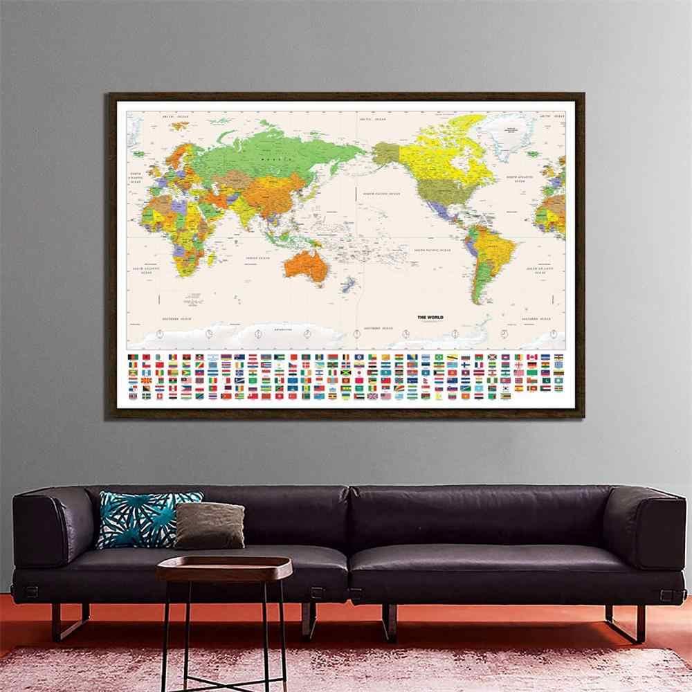 Постер карты мира на холсте
