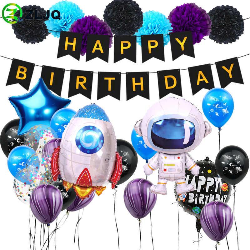 32 pièces/ensemble espace extra-atmosphérique fête astronaute ballon fusée feuille ballons mon 1 2 un an 1st adultes enfants garçon fête d'anniversaire décor