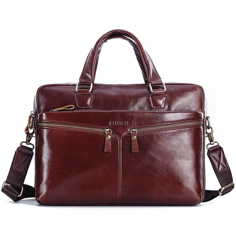 100% Cow Genuine Leather Men Briefcase Bag Business Handbag Male Laptop Shoulder Bags Tote Computer Natural Skin Men Briefcase