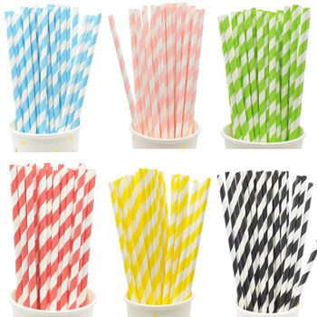 Biodegradable Stripes Paper Straws Pink Blue Yellow Drinking Wedding Birthday Party Decoration Baby Shower Kids