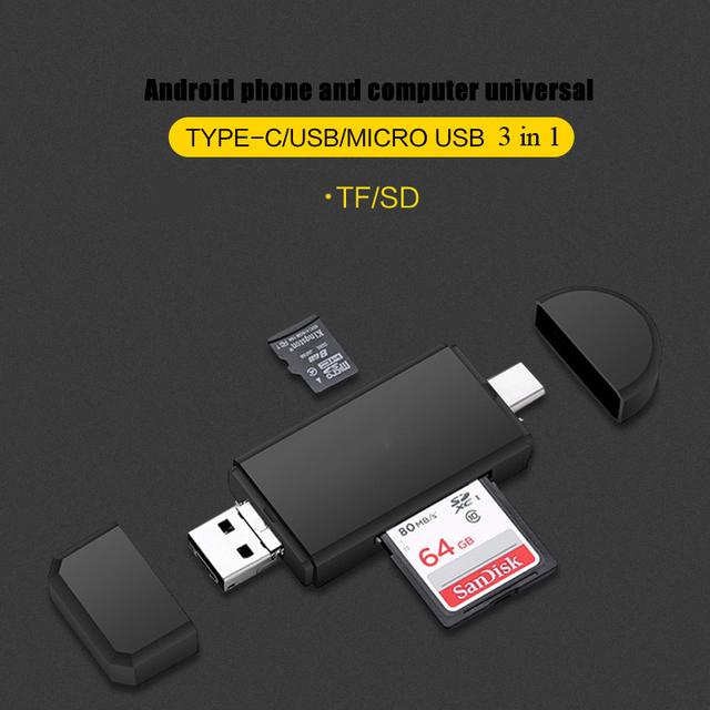 Tipo C y micro USB y USB 3 en 1 lector de tarjetas OTG USB 2,0 Universal OTG TF/SD para el conector de extensión de ordenador USBC tipo C