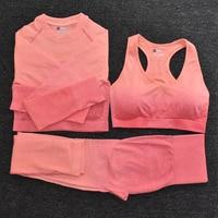3pcsOrange - Women's Sportwear Seamless Fitness Gradient Yoga Set