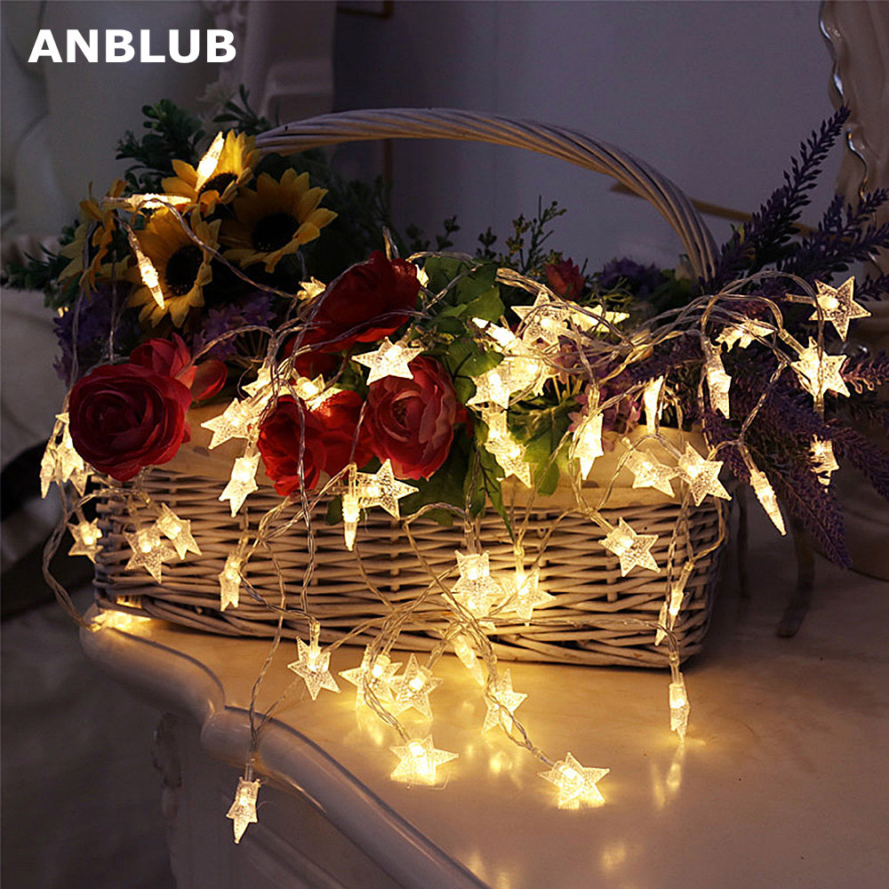 ANBLUB New Year 1.5M 3M 6M 10M LED Star String Lights Fairy Garland Waterproof For Outdoor Christmas Wedding Home Decoration