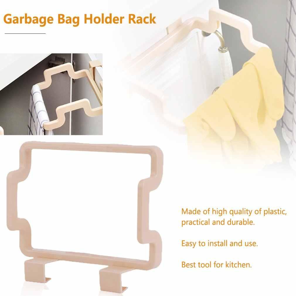 2018 mais novo portátil saco de lixo titular pendurado porta da cozinha volta tipo clipe suporte armário doméstico washcloth cabide