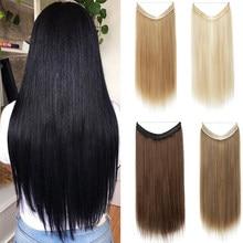 Extensões longas do cabelo reto de shangzi nenhum grampo em ombre loira bayalage sintético escondido natural secreto fio coroa pedaço de cabelo
