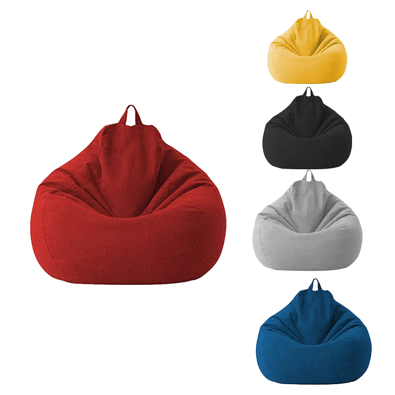 Lazy Sofa Cover Unfilled Linen Recliner Seat Bean Bag Puff Sofa Tatami Sofa Cover Household Items