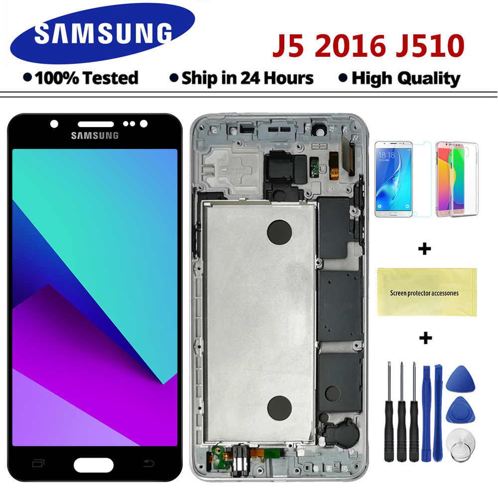TFT J510 عرض لسامسونج غالاكسي j5 2015 2016 J510 J500 F FN G Y M H DS مجموعة المحولات الرقمية لشاشة تعمل بلمس الإطار زر المنزل