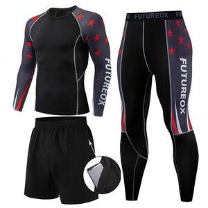 Мужской компрессионный набор, колготки для бега, тренировочный костюм для фитнеса, тренировочный костюм, рубашки с длинными рукавами, спорт...