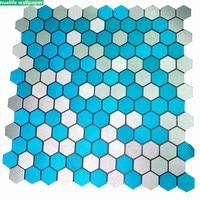Aluminum composite panel mosaic self adhesive backing hexagonal metal tile TV background wall stickers bathroom diy decoration