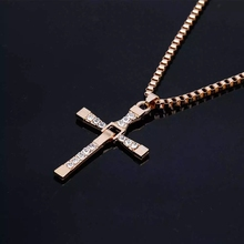 Fashion Necklaces The Fast and The Furious Celebrity Vin Diesel Item Crystal Jesus Men Gift Cross Pendant Necklace Gift Jewelry