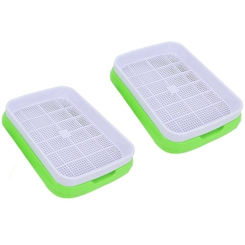 10Sets Double-Layer Seed Germination Seedling Tray Hydroponic Basket Flower Plant Sprouting Tray