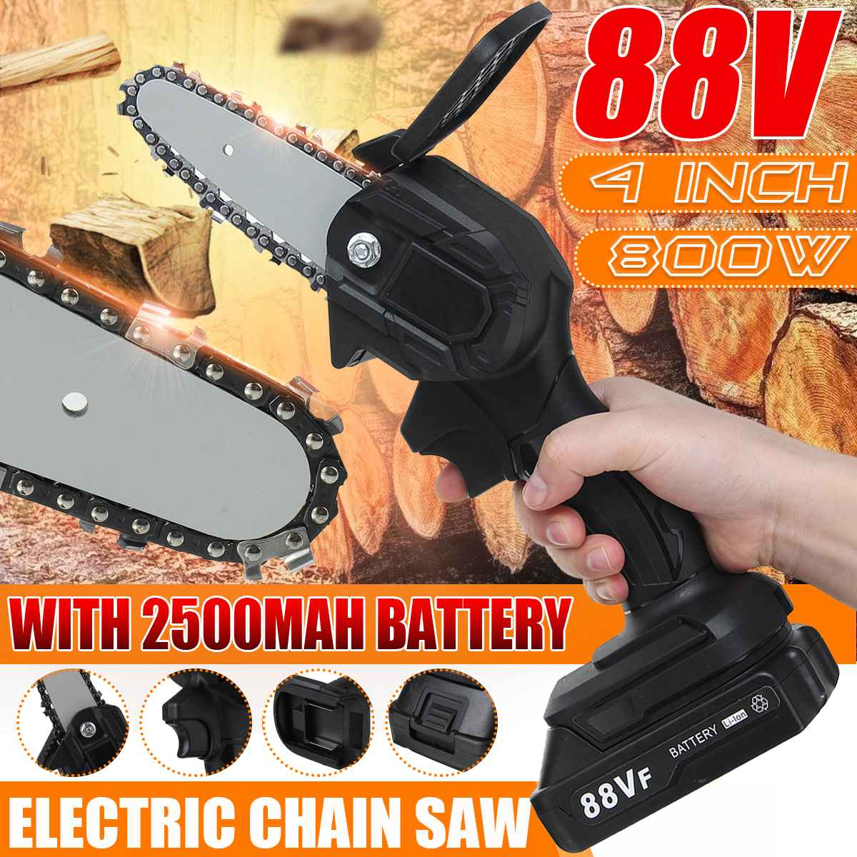 88V 800W Electric Chain Saw Lithium Battery Mini Pruning Garden Tool With Chain Saws Woodworking Tool For Makita Battery