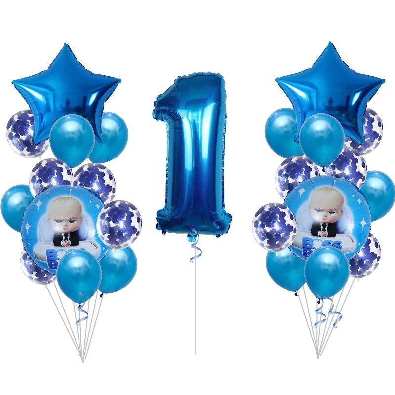 25pcs Boss Baby Aluminum Balloon, Cartoon Popular Aluminum Balloons, Kids Birthday Party Supplies, Boy Girl 1st 2st Birthday Toy