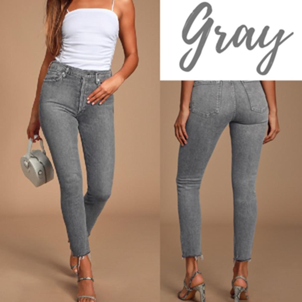 Women Legs Shaping Leggings Fake Jeans Pants Pull-on Skinny Elastic Trousers J55