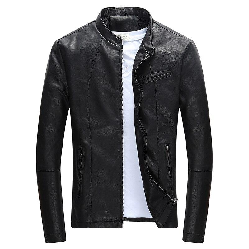 Sin Palabras de otoño e invierno para hombre PU cremallera chaqueta de cuero Casual de cuero de la motocicleta chaqueta de los hombres ropa de ocio chaqueta delgada de cuero