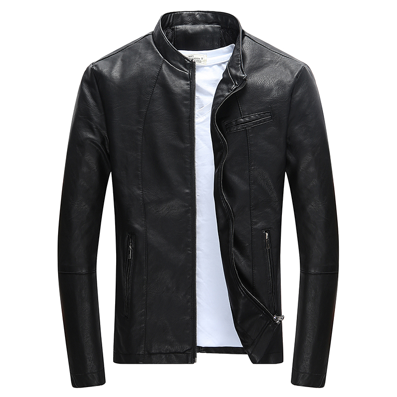 Wordless Autumn Winter Mens Zipper PU Leather Jacket Casual Motorcycle Leather Jacket Men Leisure Clothing Slim Leather Jacket