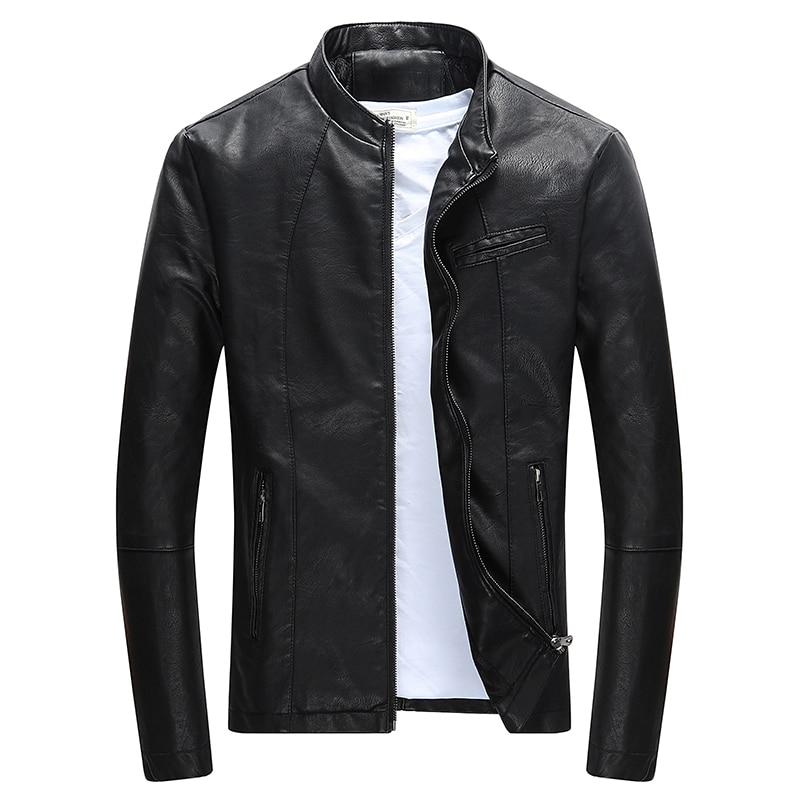 Wordless Autumn Winter Mens Zipper PU Leather Jacket Casual Motorcycle Leather Jacket Men Leisure Clothing Slim Leather Jacket