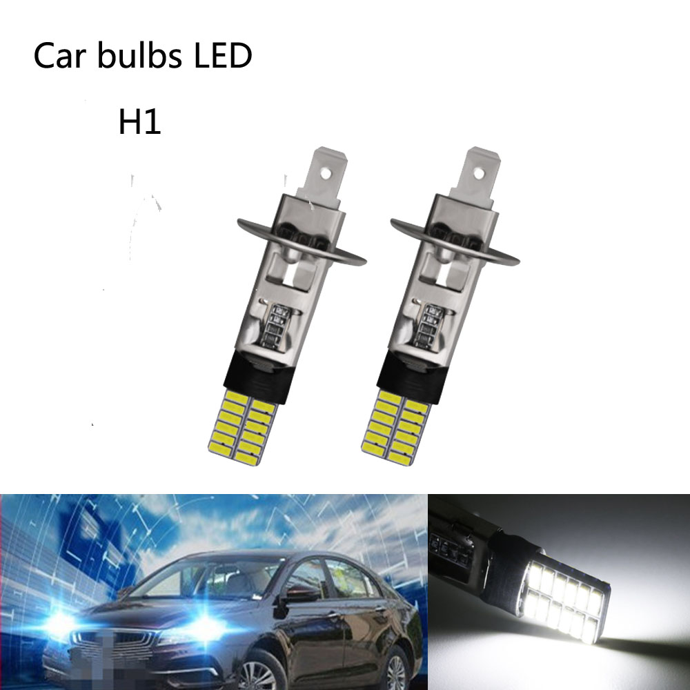 2 Piece H1 24 LED Bulb Super Bright H3 4014SMD Car Fog Lights  Driving Day Running Lamp Replace 55W Bulbs DC 12V 6500K White
